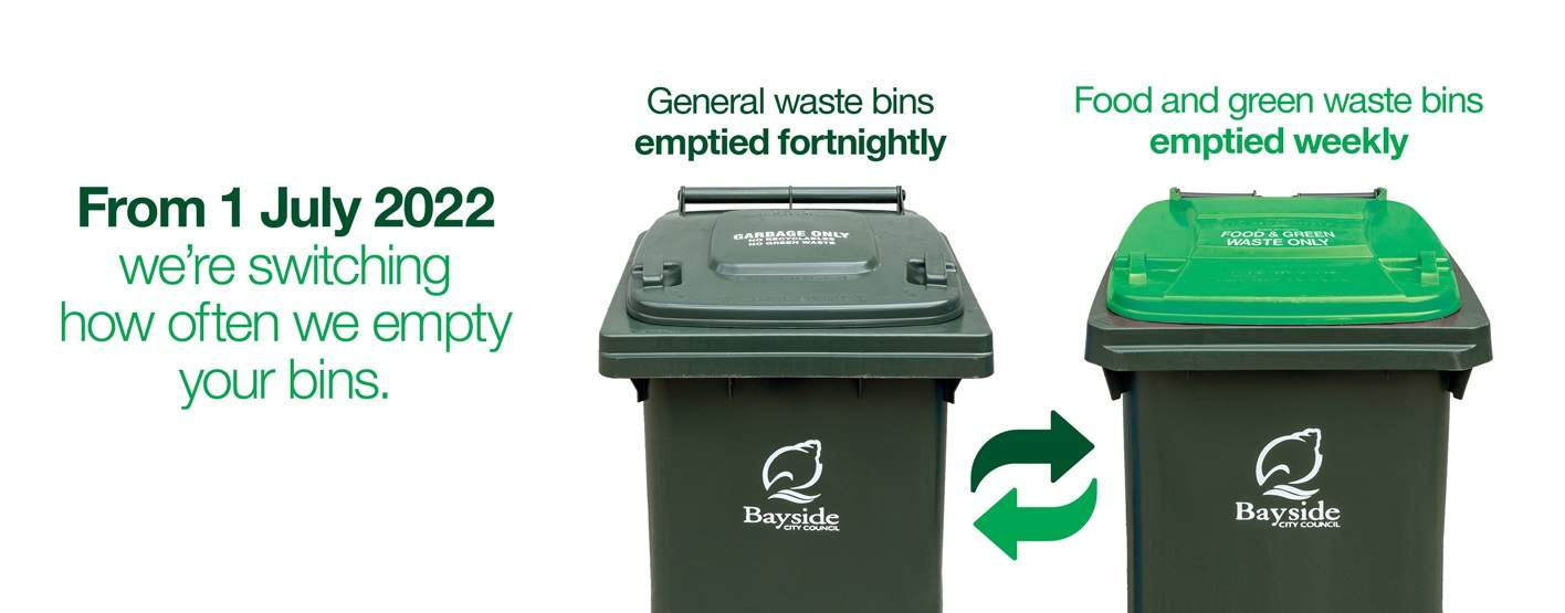 From 1 July 2022, were switching how often we empty your bins. Dark green lidded general waste bins will emptied fortnightly and light green lidded food and green waste bins will be emptied weekly.