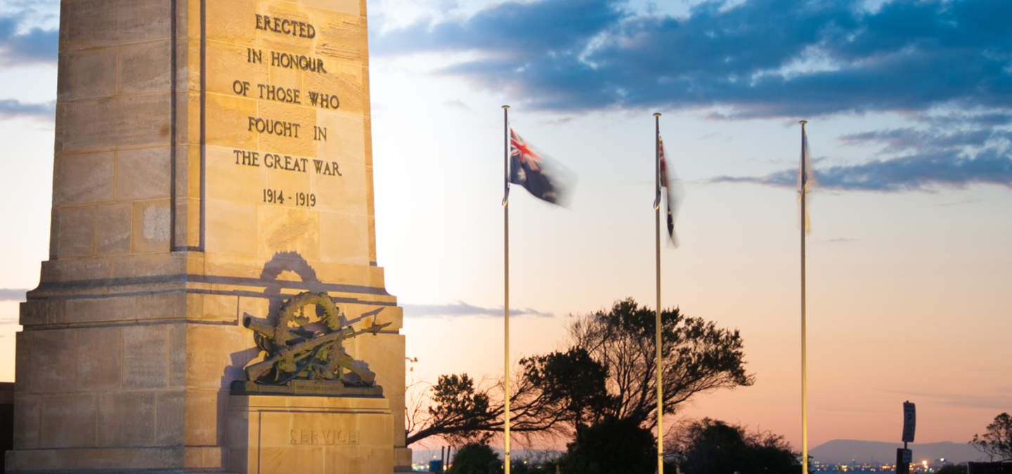 Green Point Brighton Cenotaph symbolising the unprecedented losses suffered during the First World War