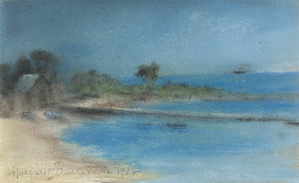 Pastel drawing of coastal scene with sandy bay at bottom and left with a jetty protruding roughly horizontally at centre