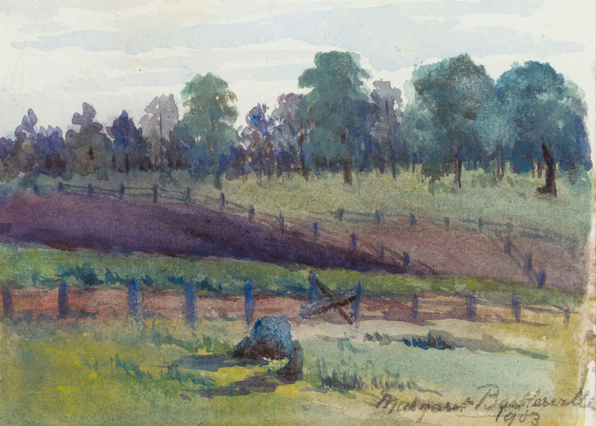 Watercolour of a landscape scene with fences in foreground, trees in background and sky above.