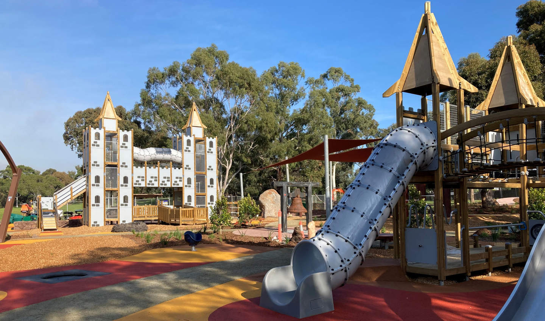 Slides at the Thomas Street playground