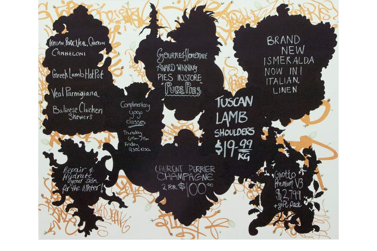 Painting of advertising chalkboard listings of various food items.