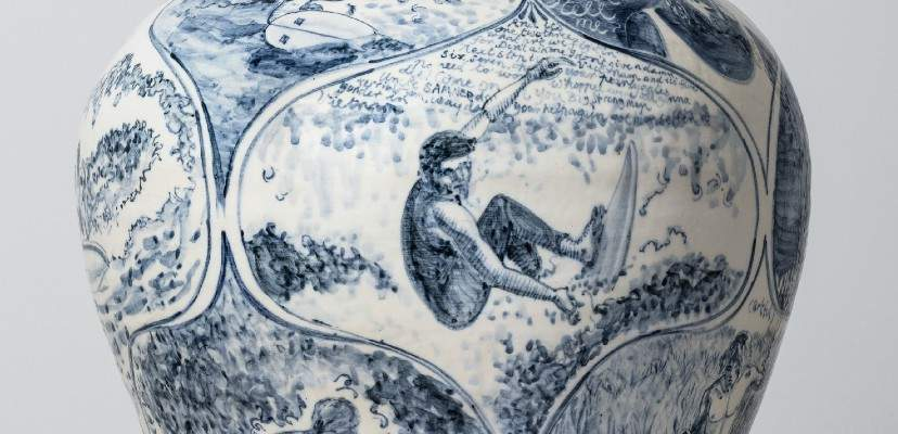 Detail of a photograph of large white ceramic vase, decorated with blue illustrations of surfers
