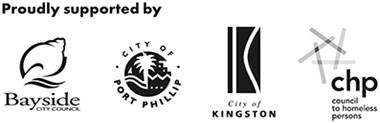 Supporter Logos including three local LGAs and Council to Homeless Persons