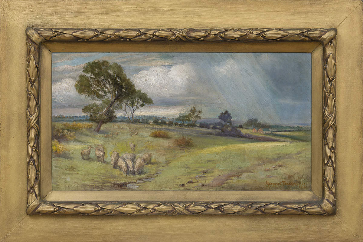Painting of a landscape with sheep scattered on the left side, a red farmhouse can be seen on the right with rain and clouds in the distance. Housed in a decorative gold frame.